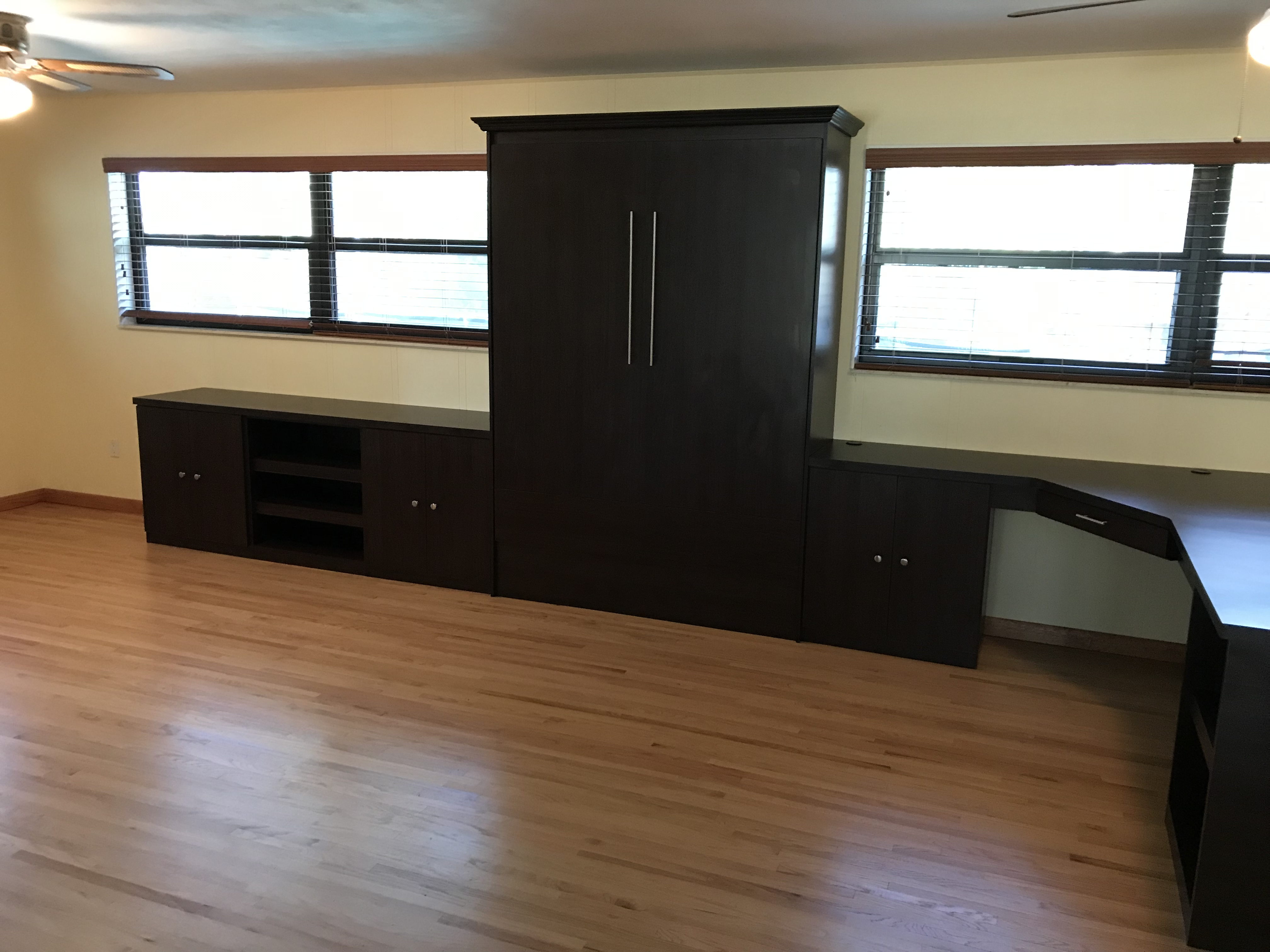 home office murphy bed with two desks